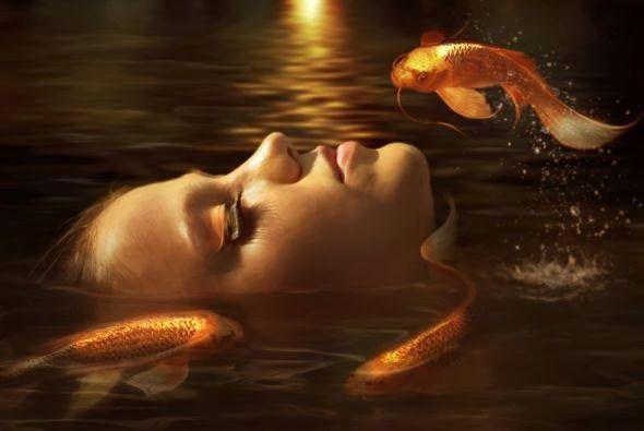 Elena Dudina deviantart arte foto manipulações digitais photoshop fantasia surreal mulheres modelos lindas Peixes dourados