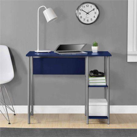 mainstays basic student desk features side shelving storage black rh pinterest com