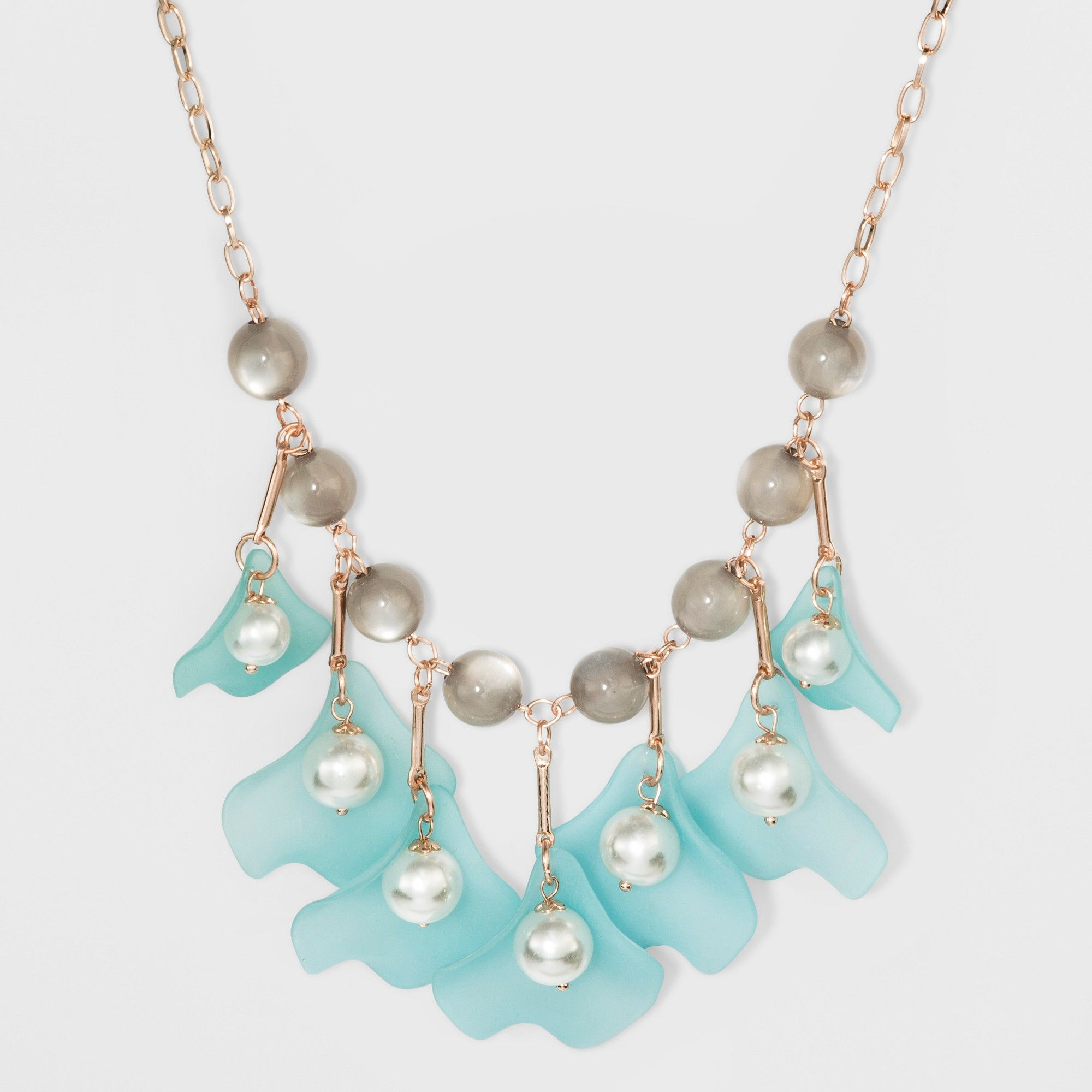 bca848922 Pearl, Acrylic, and Plastic Petals Short Necklace - A New Day, Rose Gold
