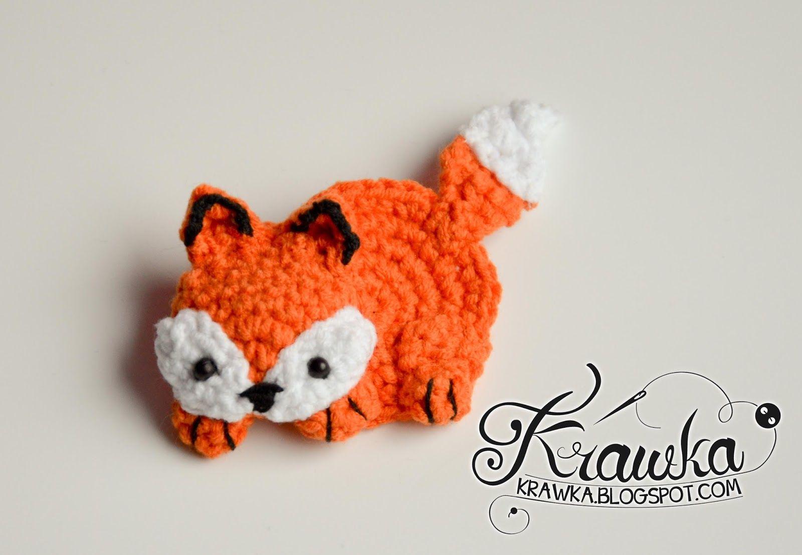 Krawka: Cute orange fox brooch with free pattern. Very fast and easy ...
