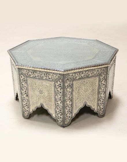 White Metal Moroccan Octagonal Coffee Table morrocan Pinterest