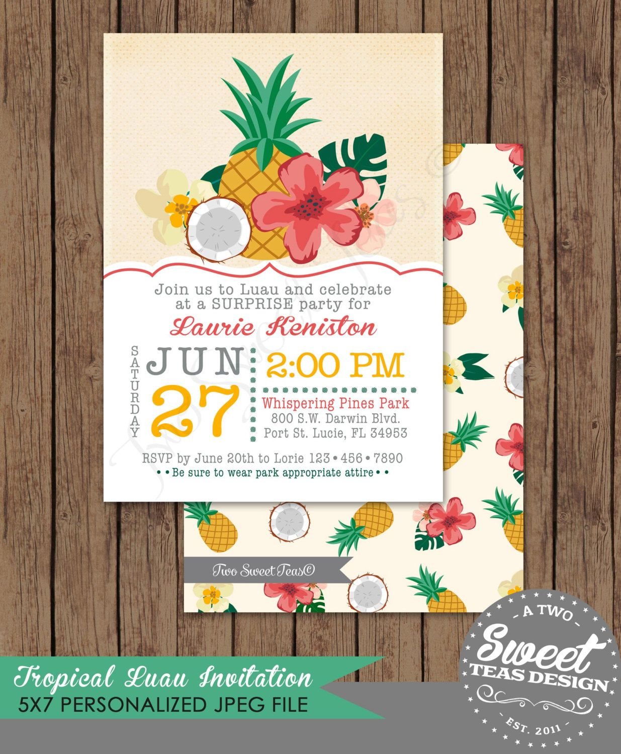 Luau Invitation Birthday Party Card Tropical By 2SweetTeas On Etsy