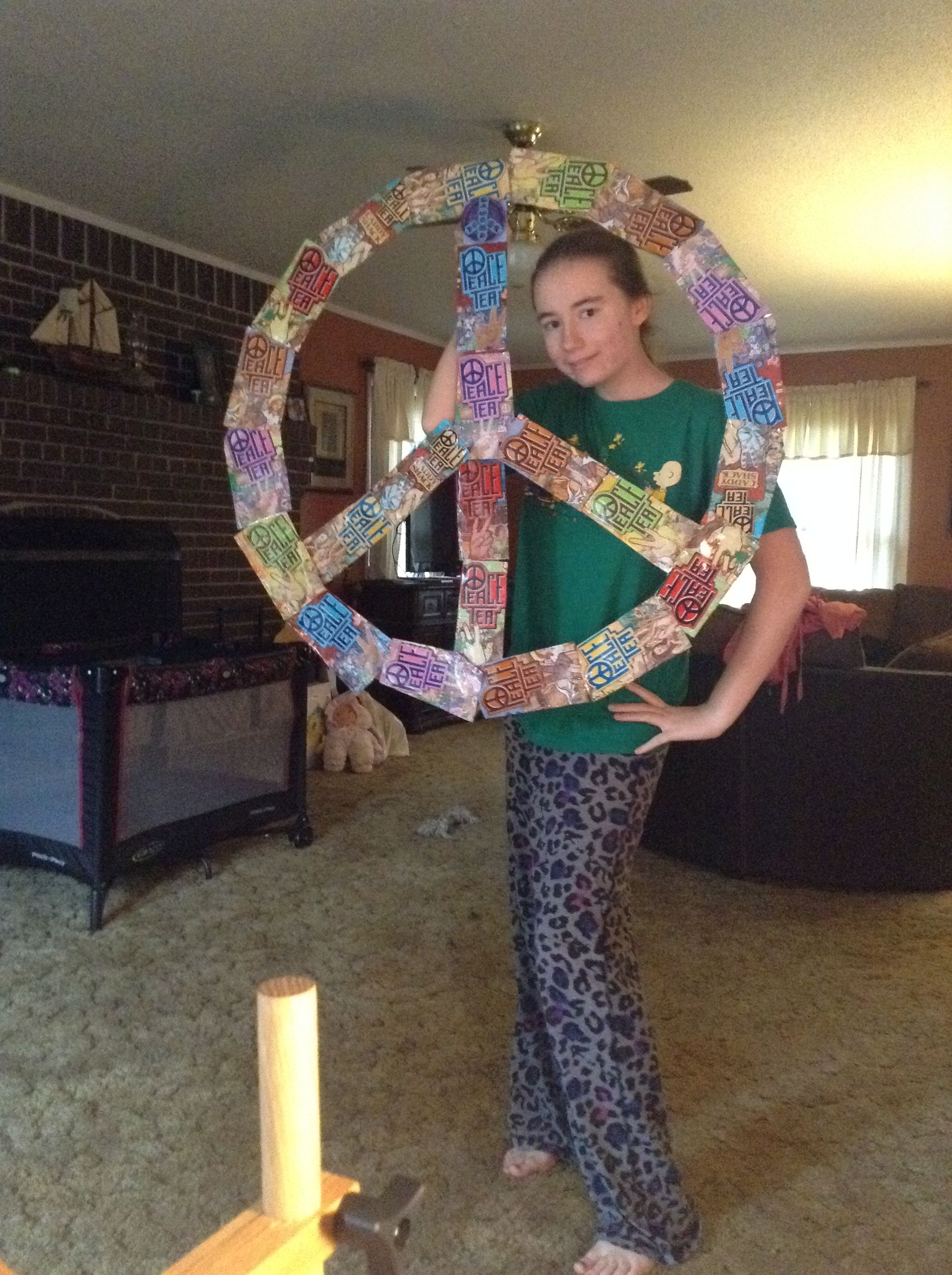 Peace Sign Bedroom Decor Recycled Some Peace Tea Cans And An Old Tri Board Into A Giant