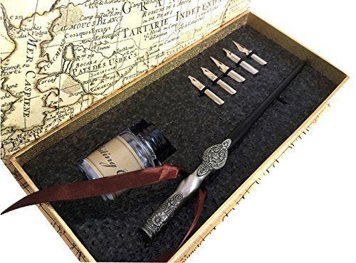 Vintage writing dip pen calligraphy pen ink set wooden st