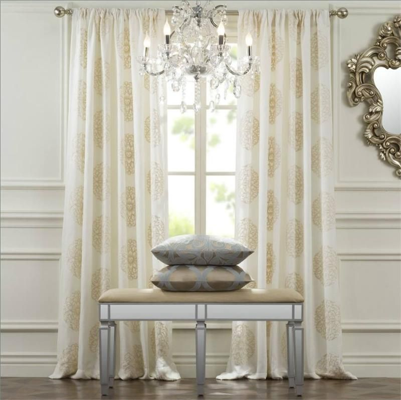 curtain keya bluecreamgrey curtains medallion panels window darkening room decor lush
