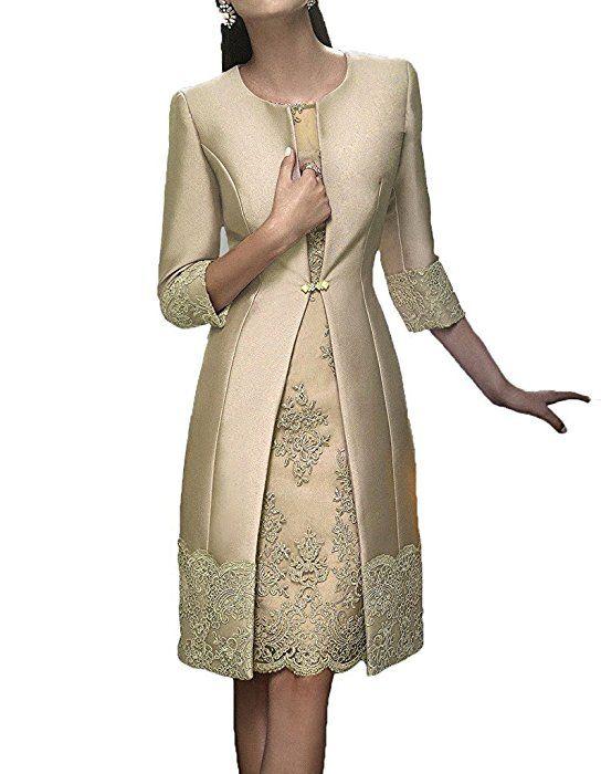 Hwan Satin Mutter Der Braut Kleid Applikationen Kurze Formale Kleider Mit Jacke Mutter Kleider Festliche Kleider Kleider