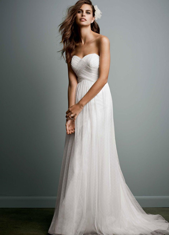 Swiss dot tulle empire waist soft wedding gown davidus bridal i