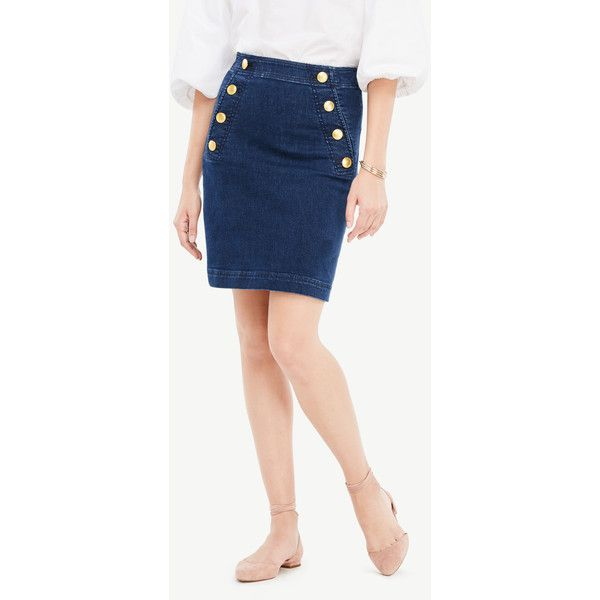 be58018ad Ann Taylor Petite Denim Sailor Skirt ($79) ❤ liked on Polyvore featuring  skirts, mariner wash, pocket skirt, button front skirt, petite long skirts,  ...