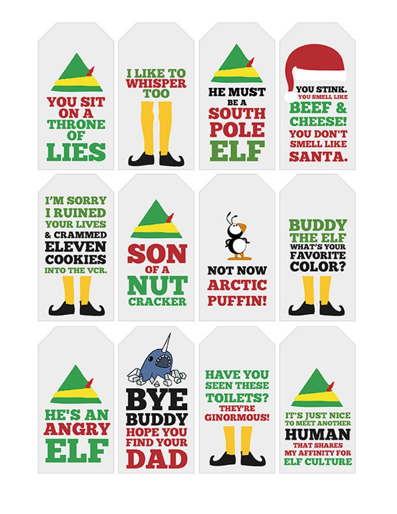 Funny Elf Quote Gift Tags Printable Typography Elf