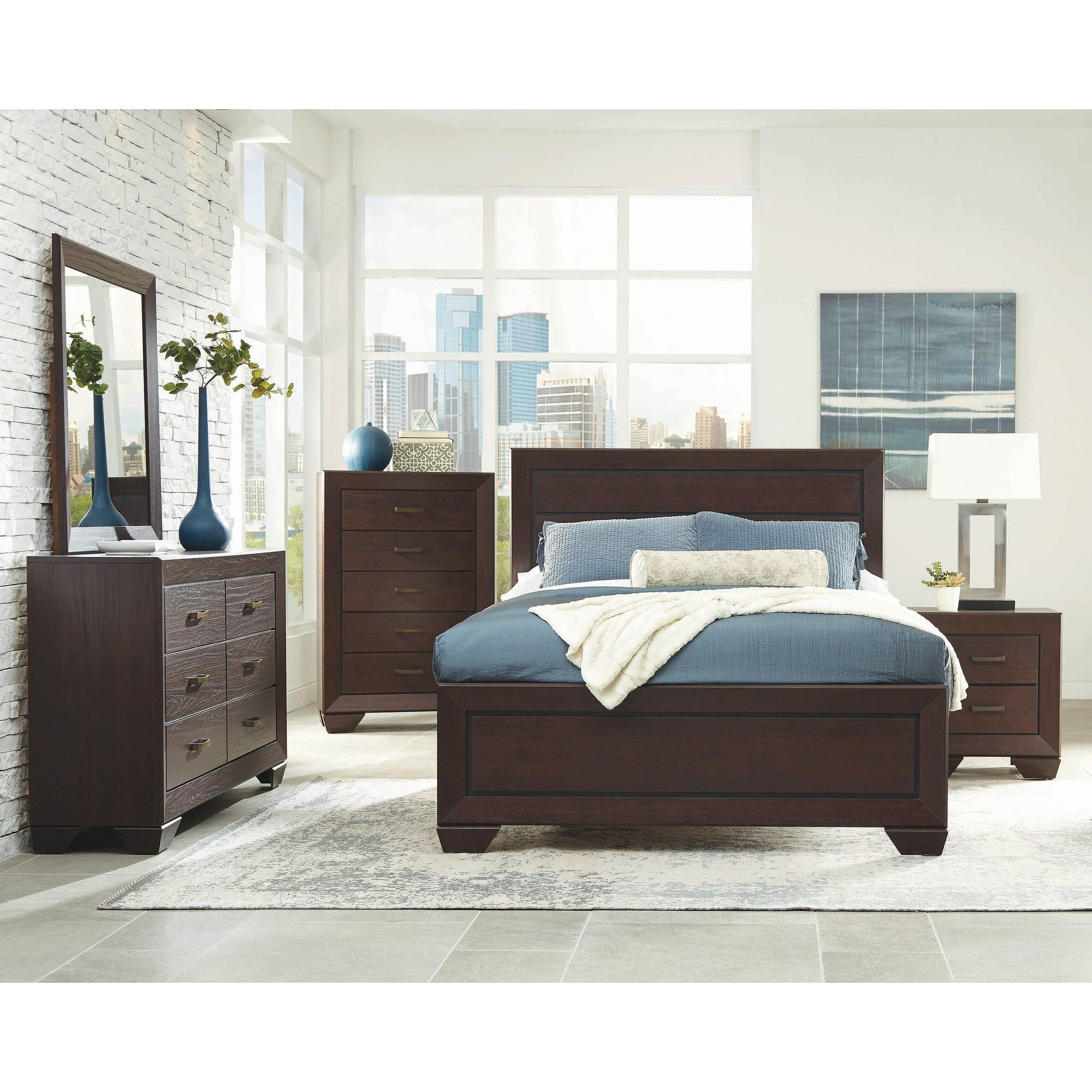 Ridgeview Dark Cocoa 5piece Panel Bedroom Set with 2