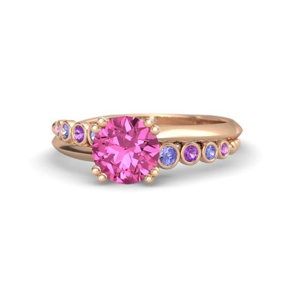 Round Pink Sapphire 14K Rose Gold Ring with Tanzanite & Amethyst - Isabella Ring | Gemvara