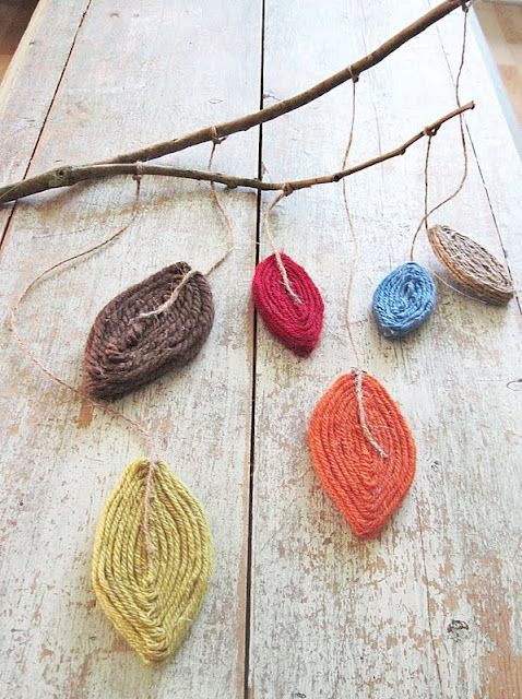 DIY: yarn leaves mobile #crafts #decorations