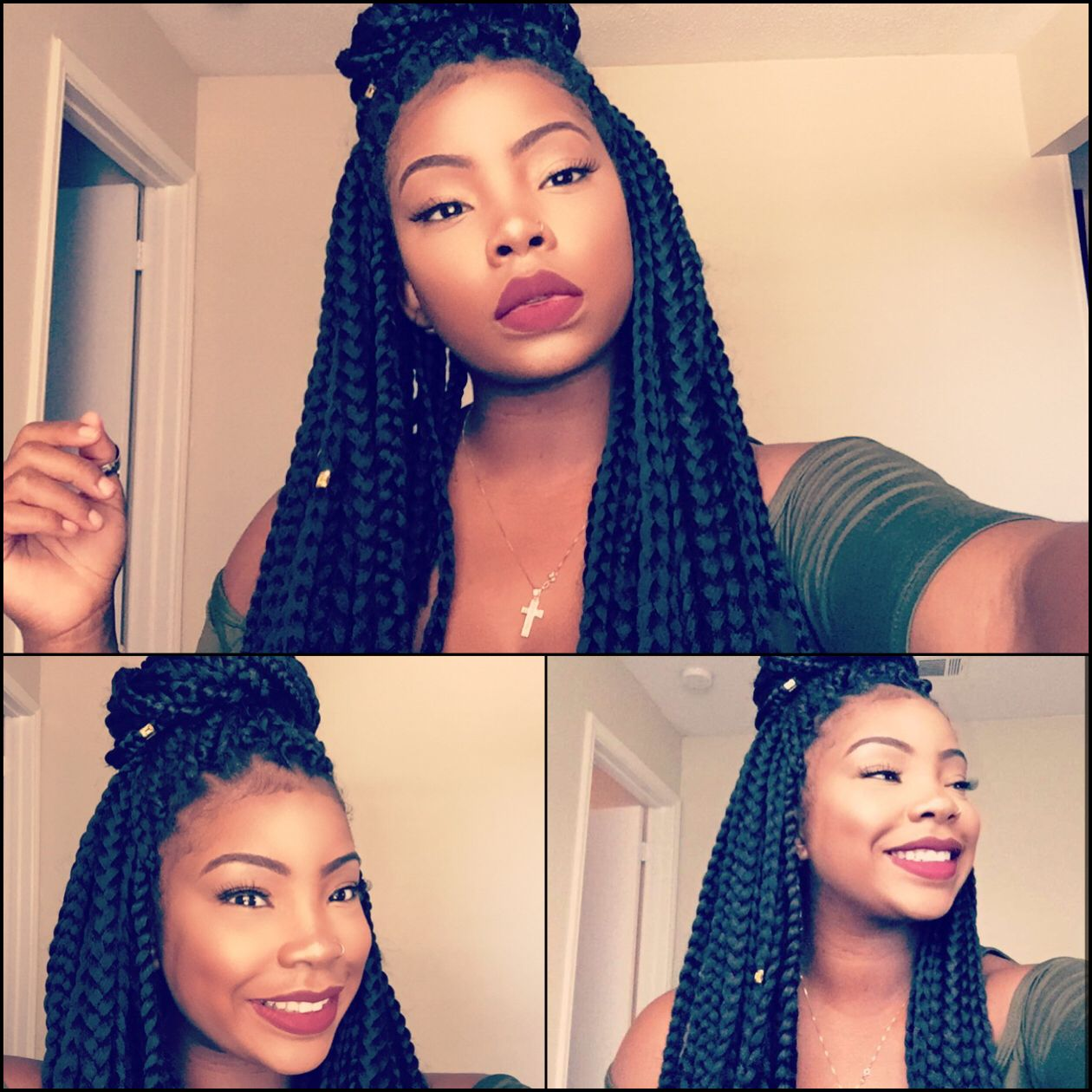 Crochet box braids with perimeter single braids for a more ...