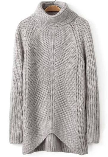 Grey High Neck Long Sleeve Knit Sweater | Grey, Knitwear and Crochet