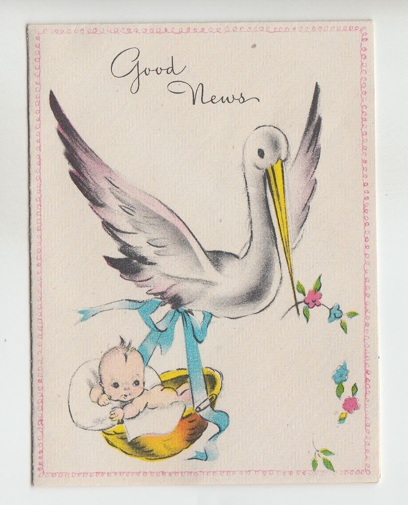 Vintage Small Stork Carrying Baby In Basket Birth Announcement – Stork Birth Announcement