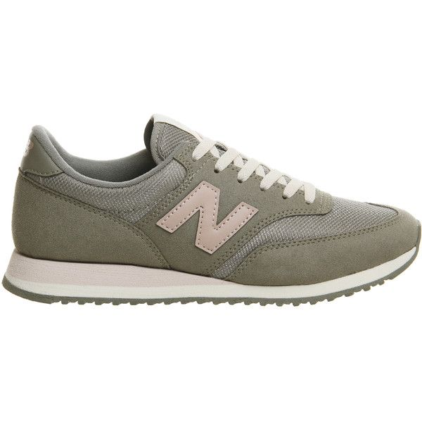 8a9cc1f3887e1 New Balance 620 Trainers Khaki Pink Exclusive ($90) ❤ liked on Polyvore  featuring shoes, sneakers, new balance trainers, pink trainers, pink shoes,  khaki ...