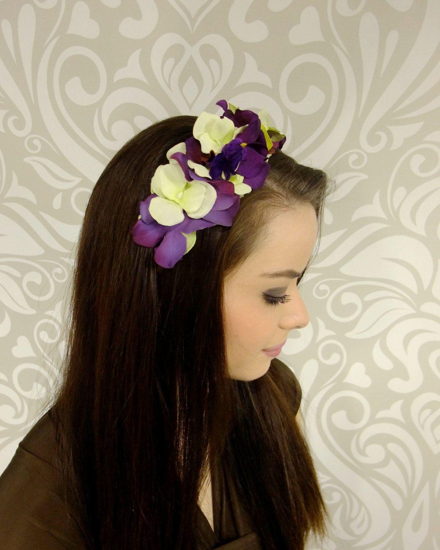 Pale Green And Purple Flower Crown Headband Flower Headpiece