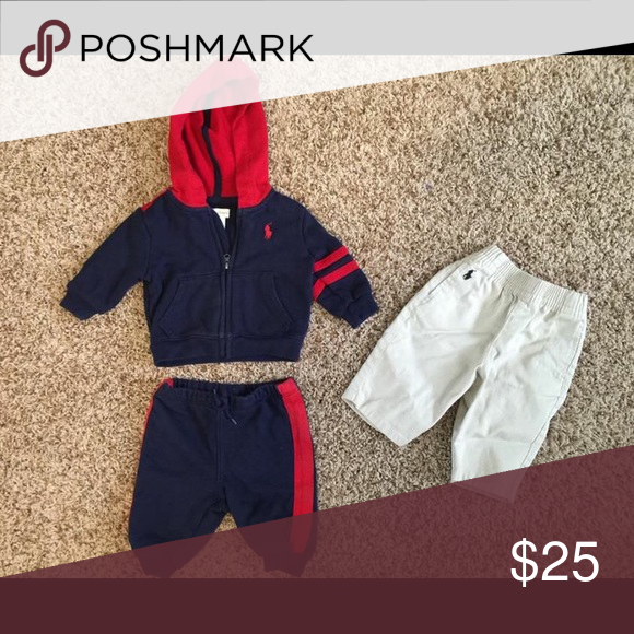 Boys 0-3 mo Ralph Lauren Jog Set & Khakis. Barely worn 0-3 mo. Ralph Lauren Matching Sets