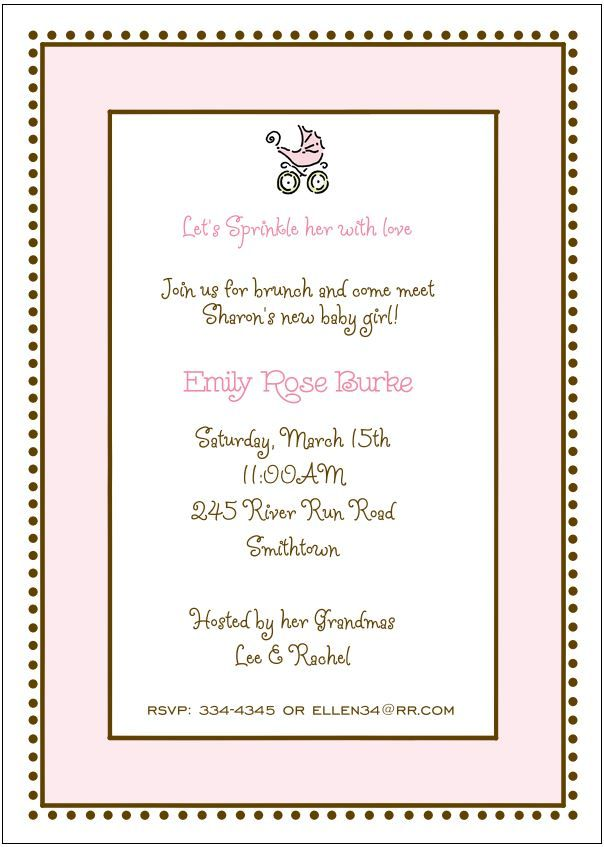 Pink baby\'s carriage baby sprinkle or baby shower invitation for a ...