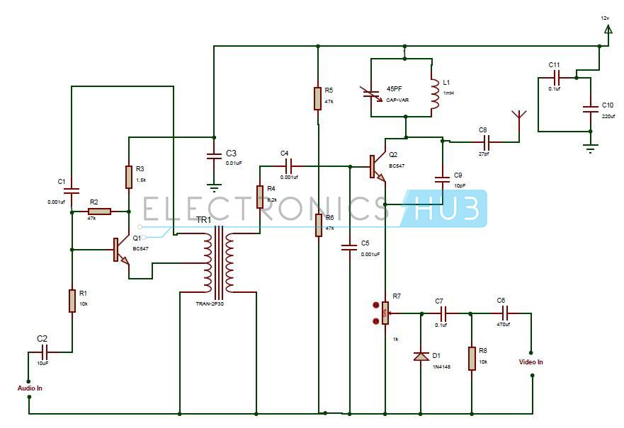 Fpv Transmitter Wiring Diagram Ge Dryer Start Switch Tv Circuit Working And Applications Electronic This Is Designed To Transmit The Audio Video Signals We Can Use It In Broadcasting Surveillance Cameras Etc