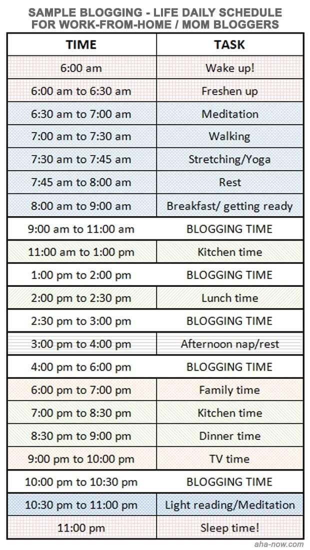 How To Manage Blogging And Life Blogging Daily schedule for moms