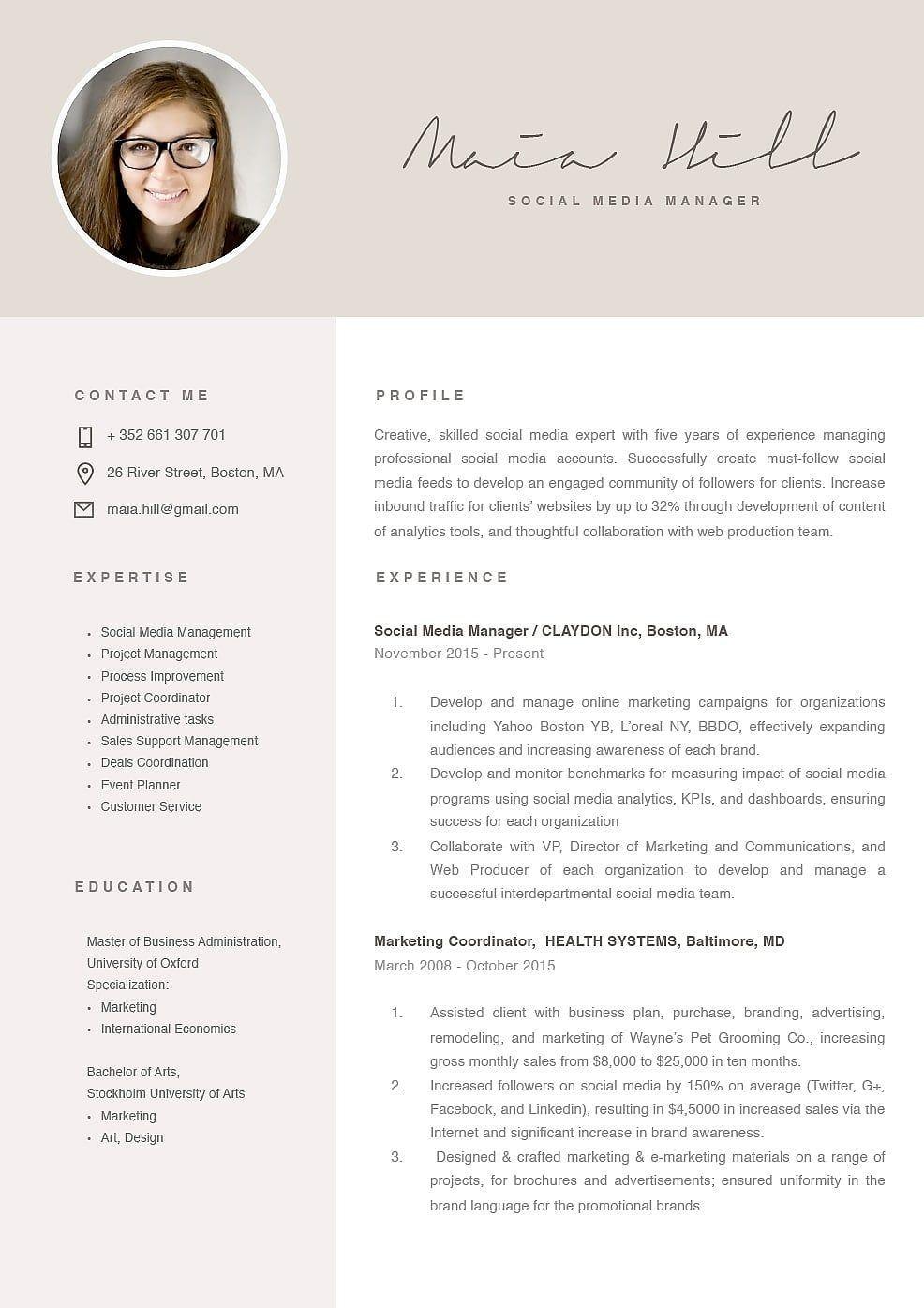 Modern resume template marketing resume modern resume