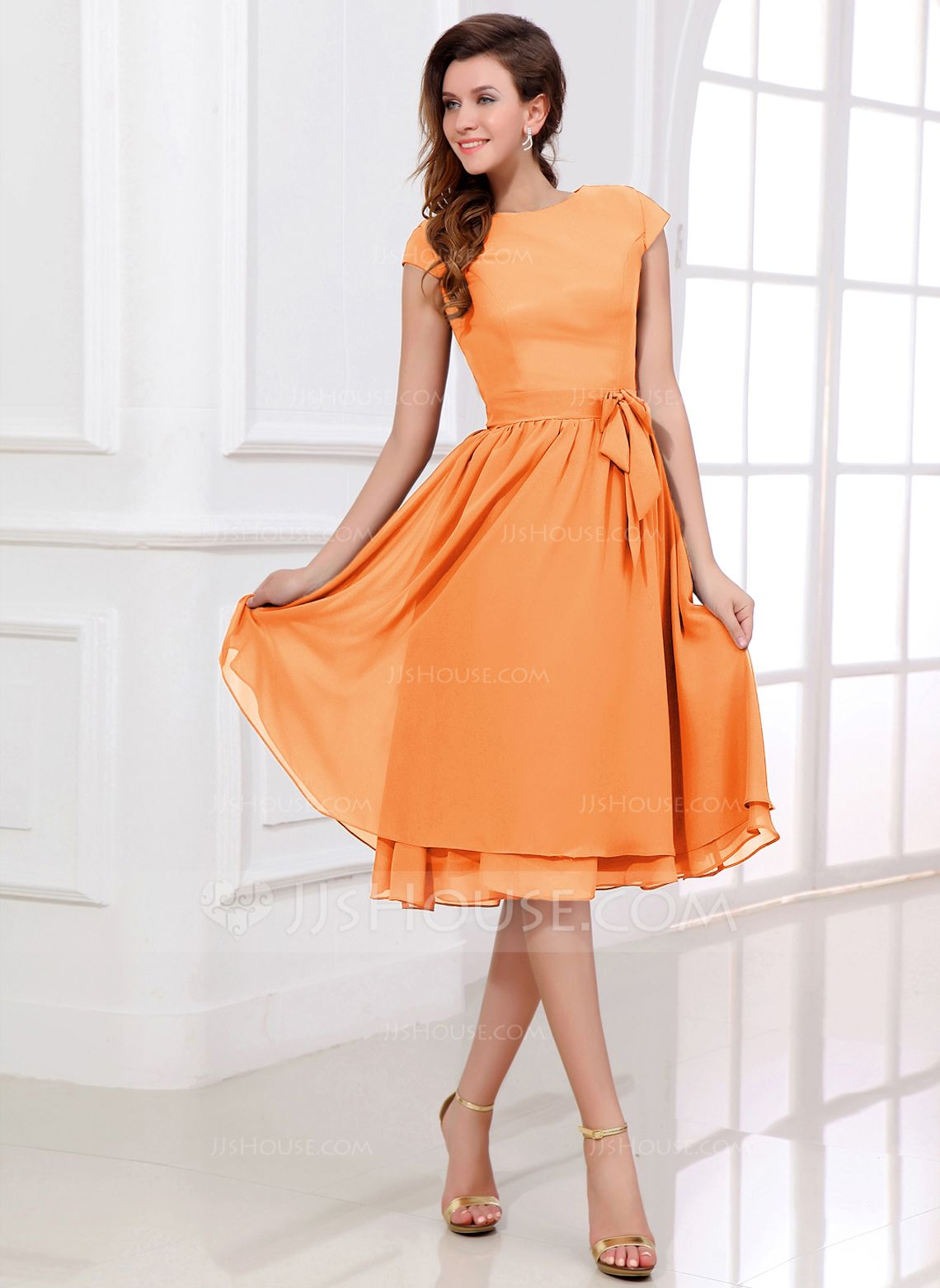 Chiffon kneelength bridesmaid dress with cap sleeves and sashes