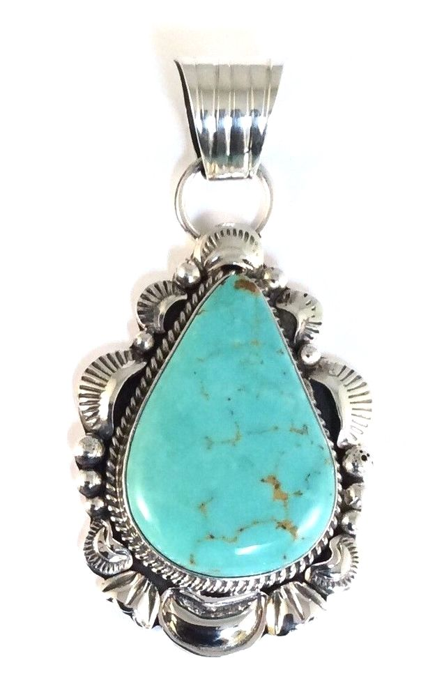 Native american sterling silver navajo indian kingman turquoise native american sterling silver navajo indian kingman turquoise pendant signed aloadofball Images