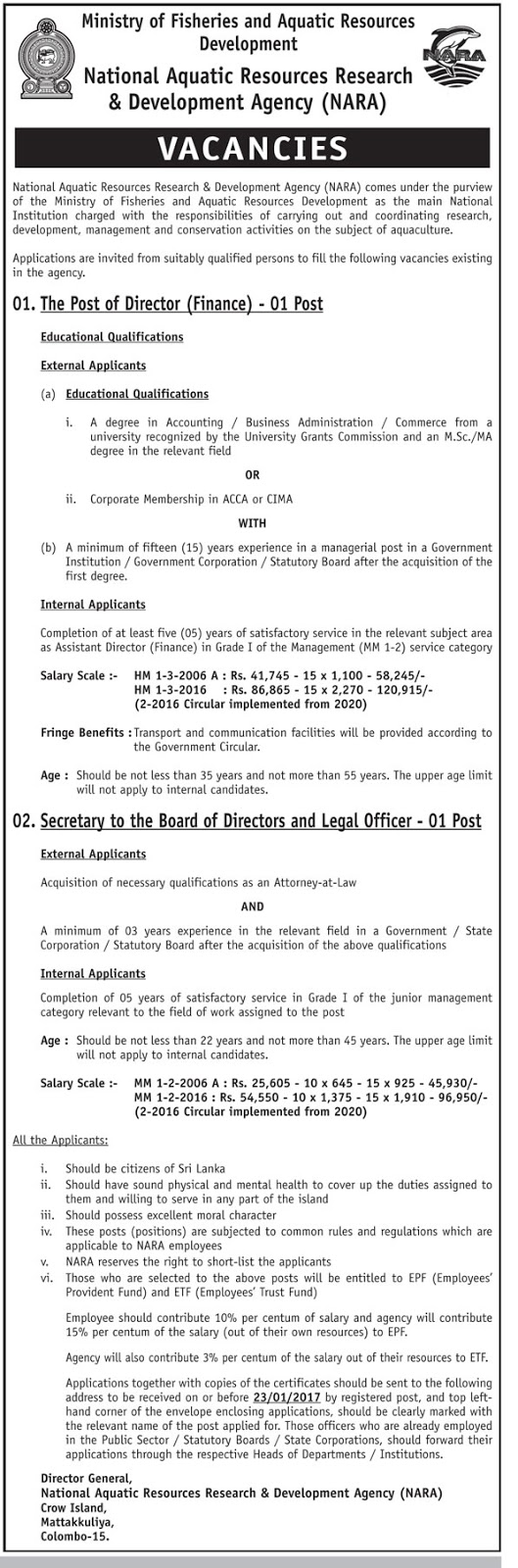 Education Agent Wanted From Sri Lanka Payment After Visa: Director (Finance), Secretary To The Board Directors