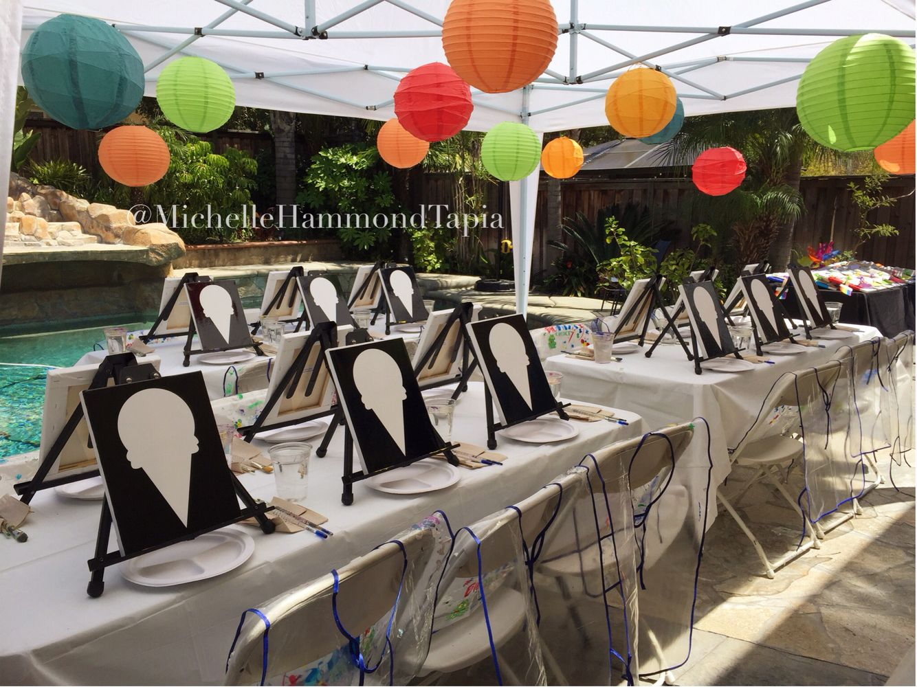 Rice paper lanterns and canopy setup. Ice cream cone stencil on canvas. & Kidu0027s Art / Paint party. Rice paper lanterns and canopy setup. Ice ...