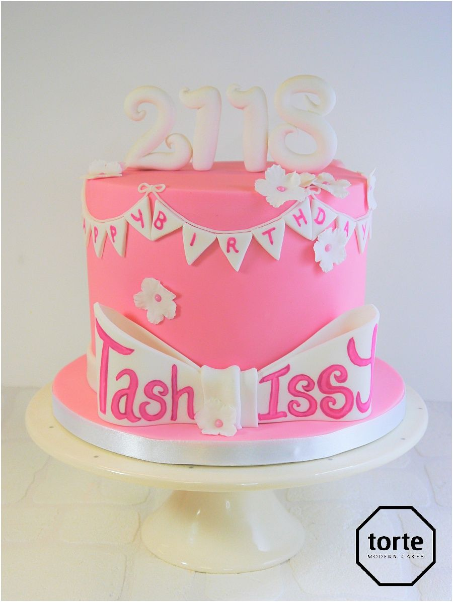 Bunting pink birthday cake for a joint 18th and 21st birthday ...