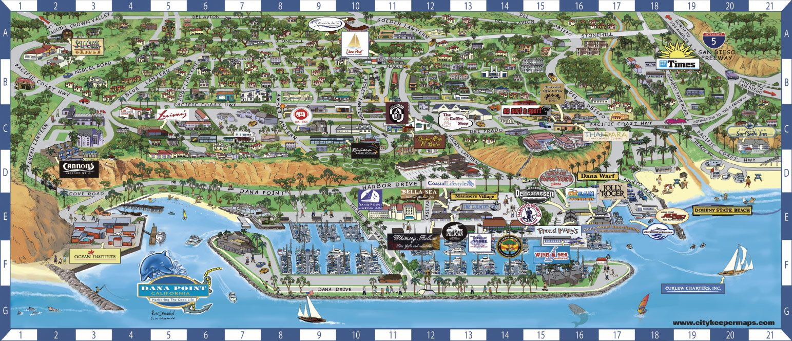 A fun map of dana point ca many come to dana point for for Fishing dana point