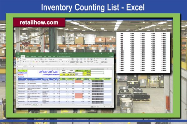 inventory counting list excel retail inventory management