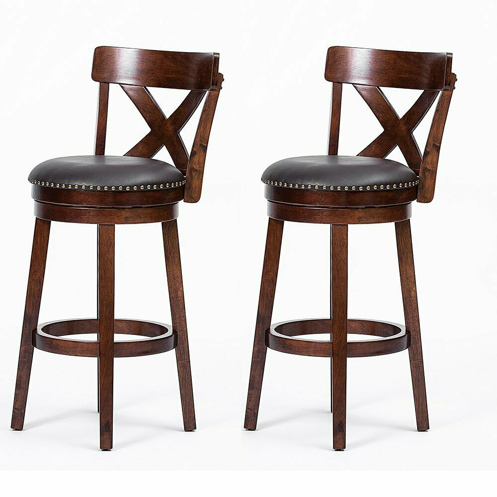 Details about Set of 1/2 Swivel Low Back Bar Stools 24