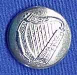 Three Feathers Pewter Domed Harp Button Early 1900's Irish Band Uniform Button