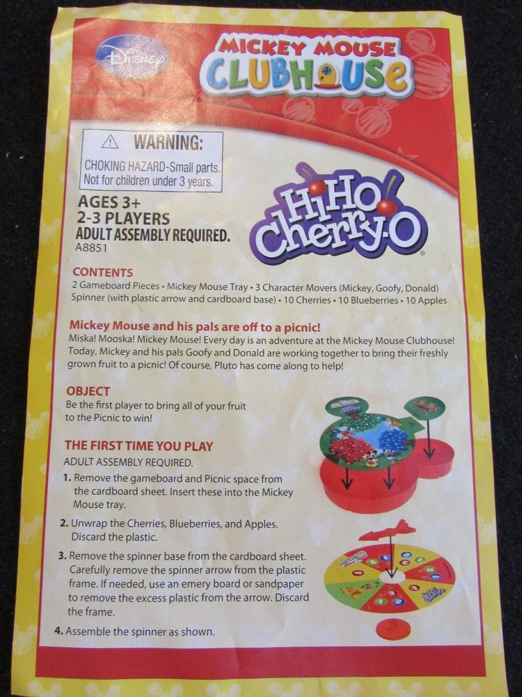 Mickey Mouse Clubhouse Hi Ho Cherry O Game Directions And
