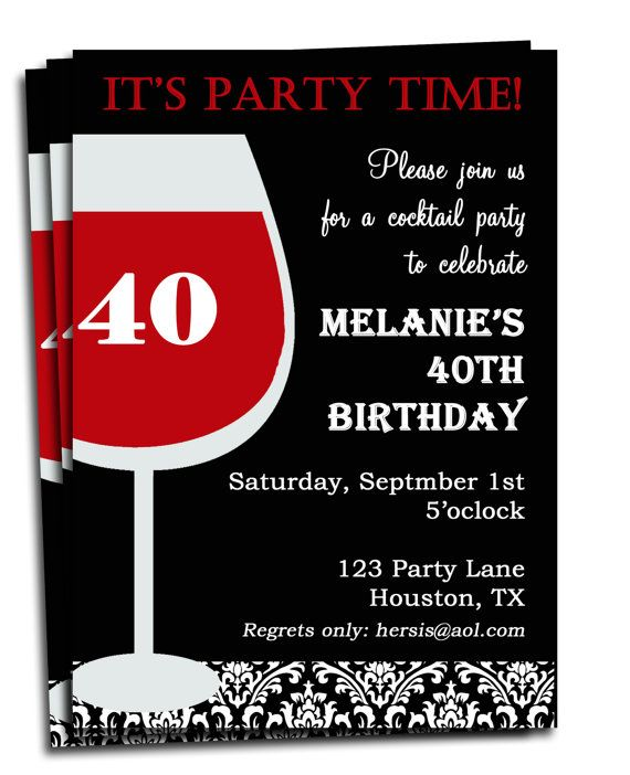 Adult Birthday Invitation Printable Personalized for your Party – Printed Birthday Invitations