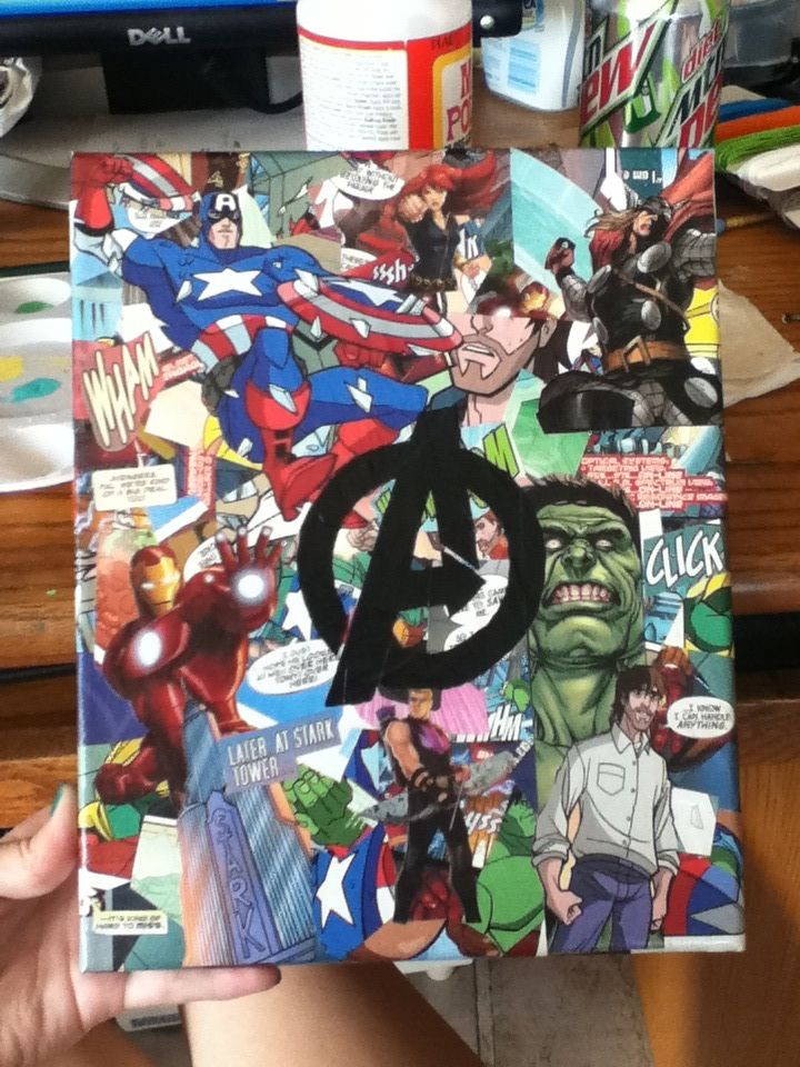 I Made This Using Around 1 Avengers Comic Book A Canvas Some Paint And Glossy Mod Podge I Think It Turned Comic Book Crafts Avengers Crafts Comic Books Diy