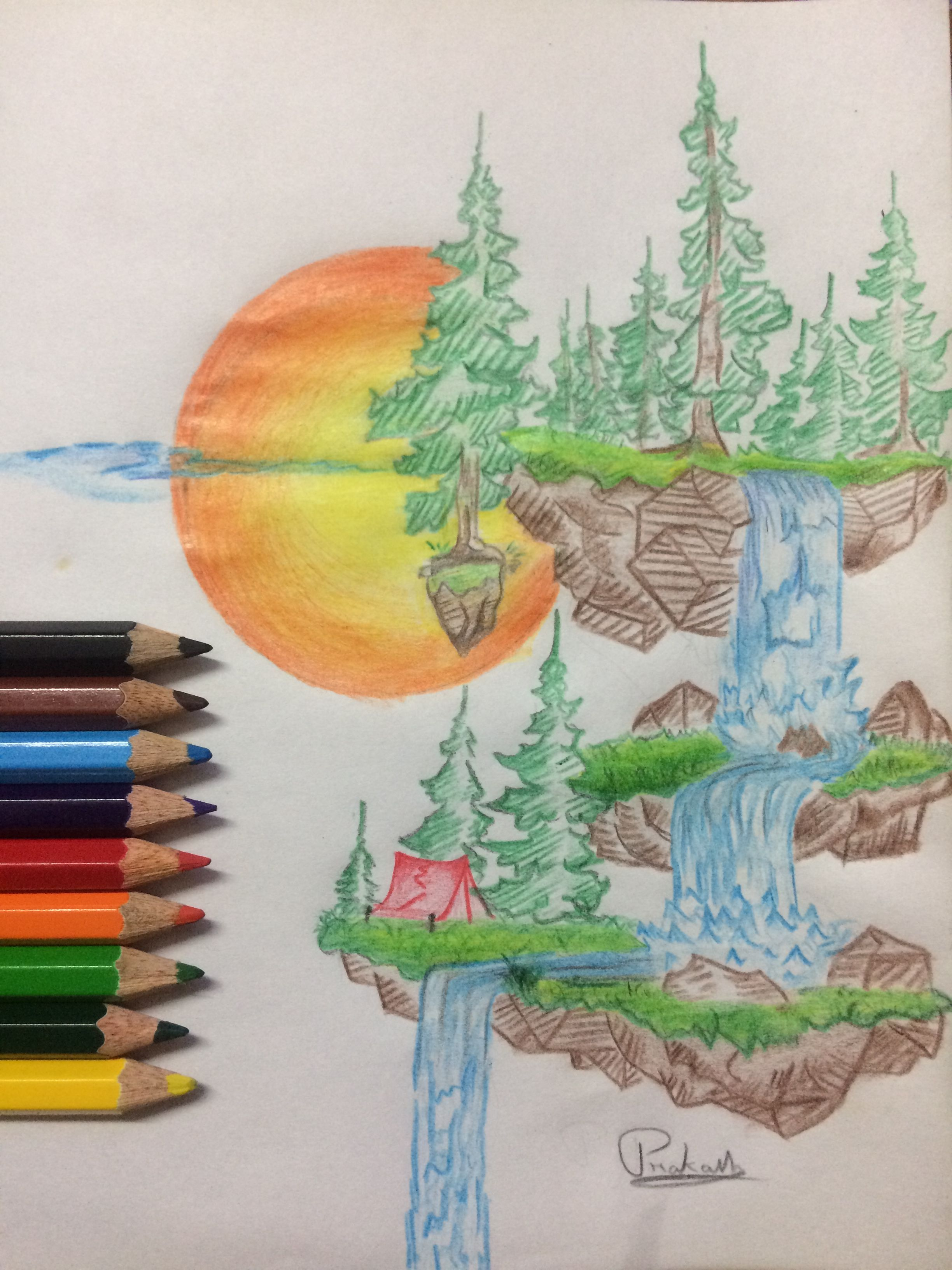 Nature Colour Pencil Art Part 3 Nature Drawing Colorful Drawings Color Pencil Art