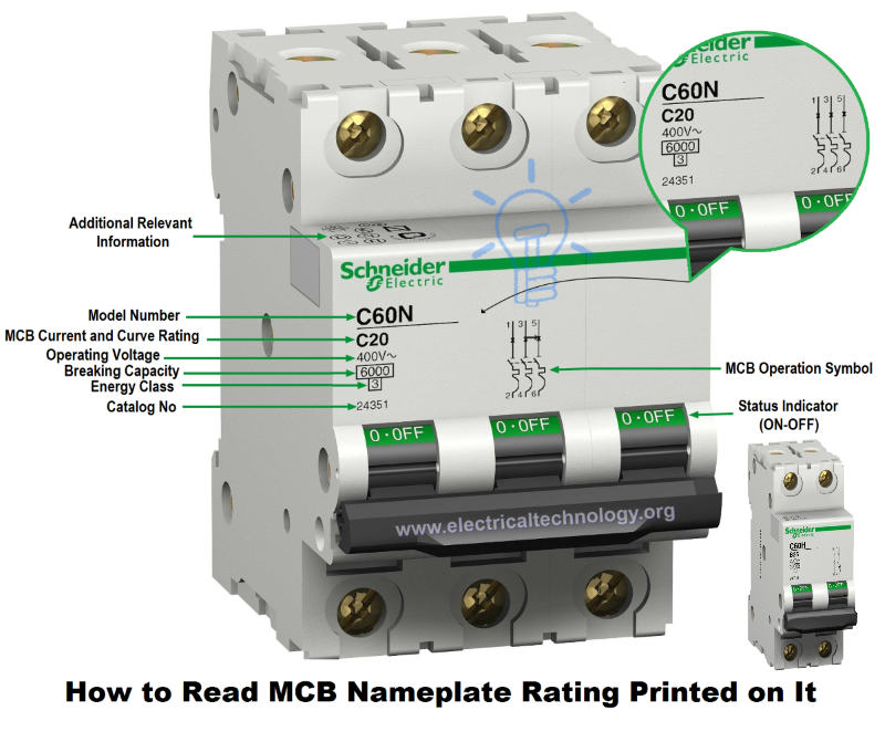 How To Read Mcb Nameplate Data Rating Printed On It Electrical Engineering Projects Electrical Engineering Electrical Circuit Diagram