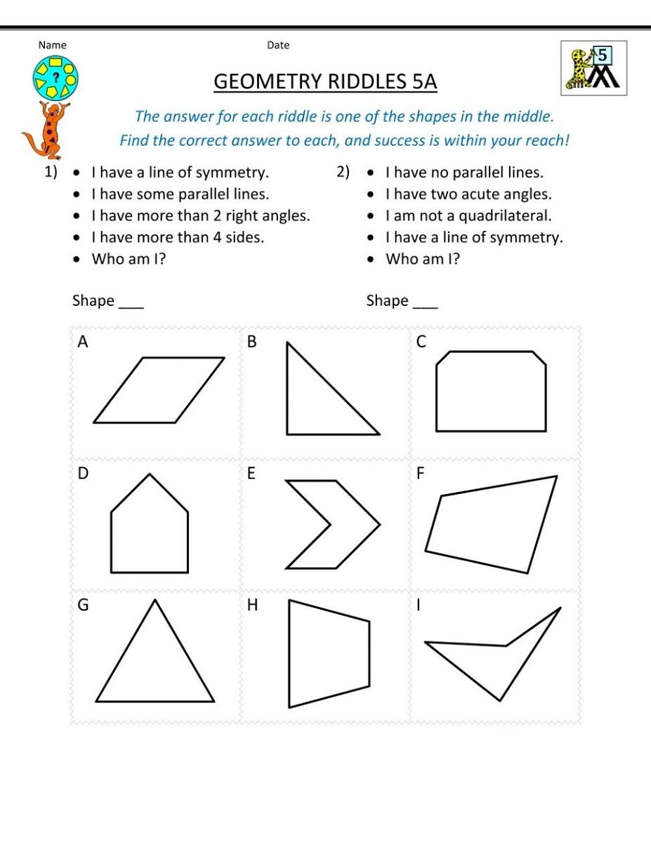Mathematics Worksheets   K5 Worksheets Sixth grade math Sixth-grade-math  Math projects Science lessons…   Geometry worksheets [ 1200 x 927 Pixel ]