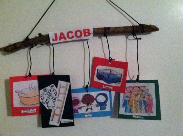Jacob Mobile. Teaches main details about Jacob: He trades soup with Esau for his birthright. Jacob's ladder dream. Marries Rachel and Leah, Wrestling with God . 12 Sons. As you build the mobile, discuss each item about Jacob.