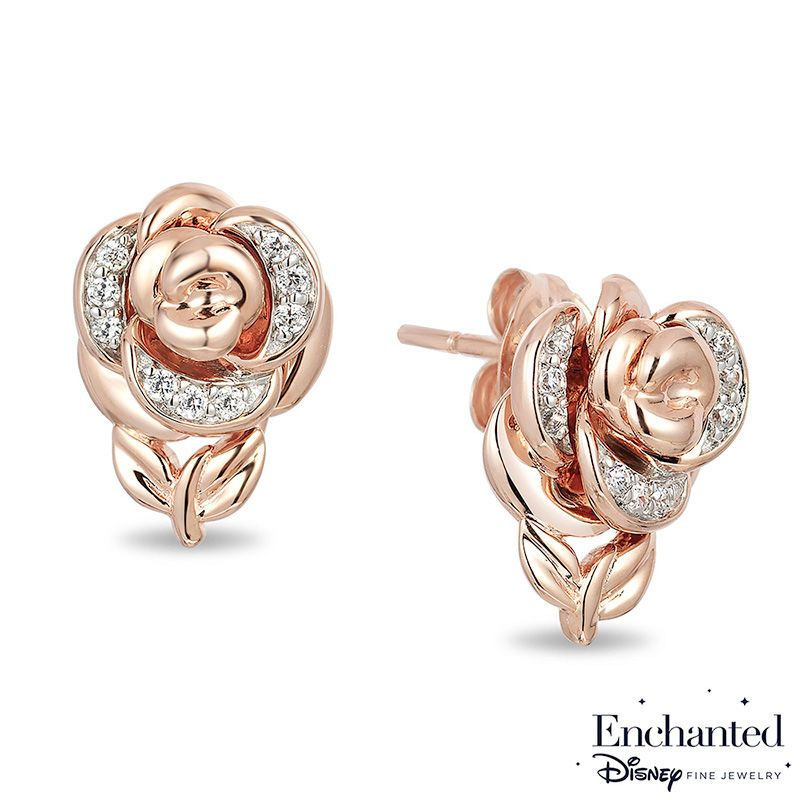 Enchanted Disney Belle 1 15 Ct T W Diamond Rose Stud Earrings In 10k Rose Gold Disney Fine Jewelry Black Hills Gold Jewelry Stud Earrings