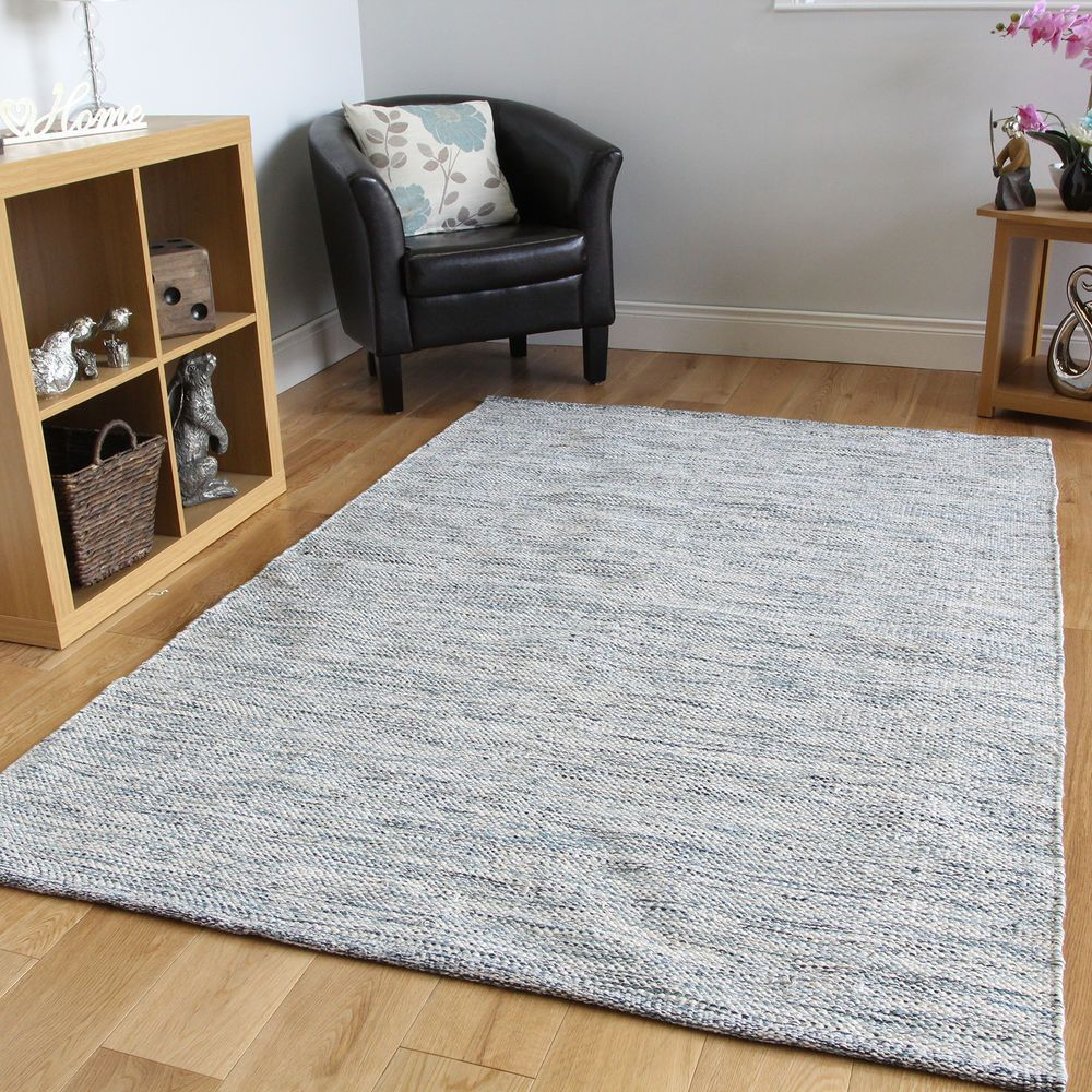 Soft Blue Flatweave Modern Rugs Small Large Easy Clean Hand Woven Cotton Rug Uk