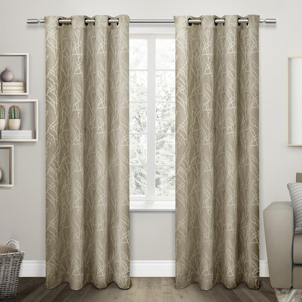 Twig 54 In W X 84 In L Woven Blackout Grommet Top Curtain Panel