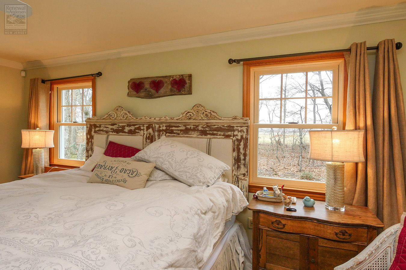 Charming master bedroom with new wood windows renewal by