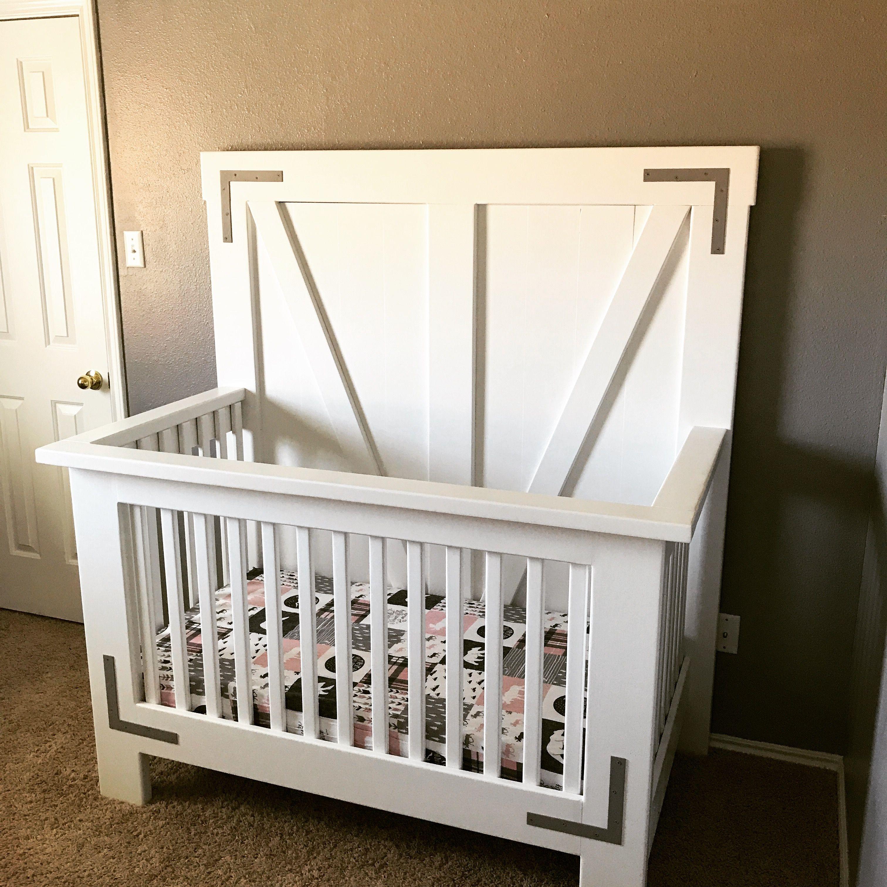 Diy Farmhouse Crib Free Tutorial And Plans Shanty 2 Chic Kids Rooms Diy Farmhouse Cribs Baby Crib Diy