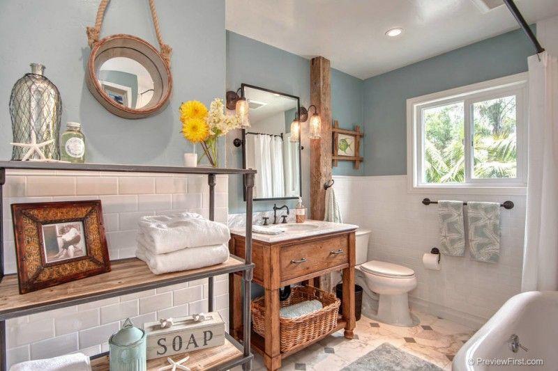 Beach Themed Bathroom Melissa Decorative Mirror Beach Wooden Vanity With  White Sink Rectangular Mirror Bathroom Supplies