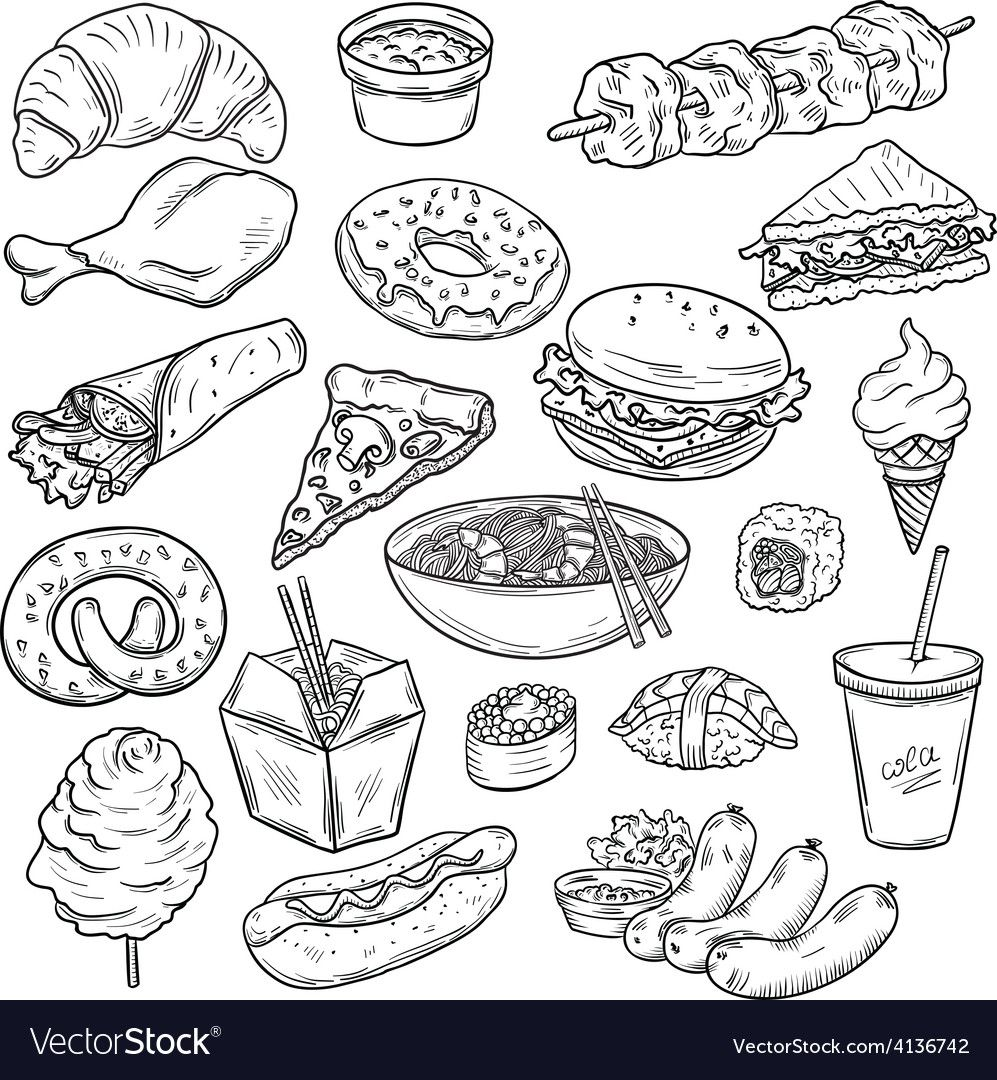 Collection Of Food Vector Image On Food Drawing Cute Food