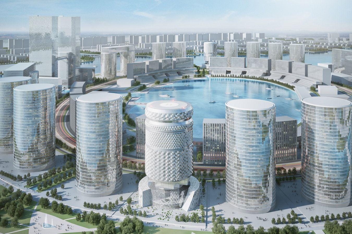 Zhengzhou Commercial Office Towers By Asymptote Architecture Architektura Imperium Wystroj